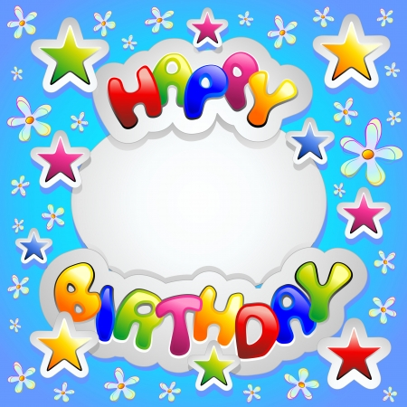 happy birthday party: Feliz fiesta de cumplea?os coloridos adhesivos Card