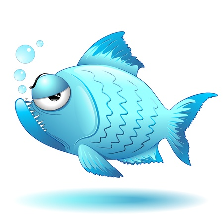 fish water: Grumpy Fish Cartoon