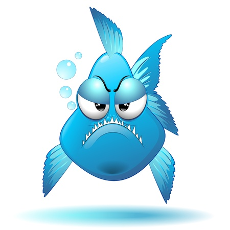 Grumpy Fish Cartoon  Vector