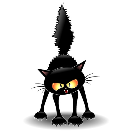 Funny Fierce Black Cat Cartoon Иллюстрация