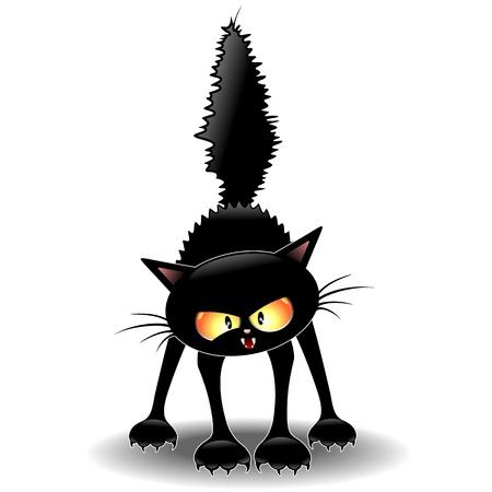 heks: Grappig Fierce Black Cat Cartoon Stock Illustratie