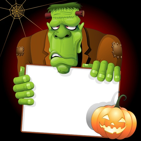 Frankenstein Monster Cartoon with White Panel and Pumpkin Vector