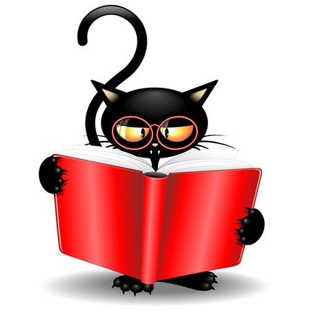 reading glass: Negro Gato de la historieta Volver a la escuela con un libro Vectores