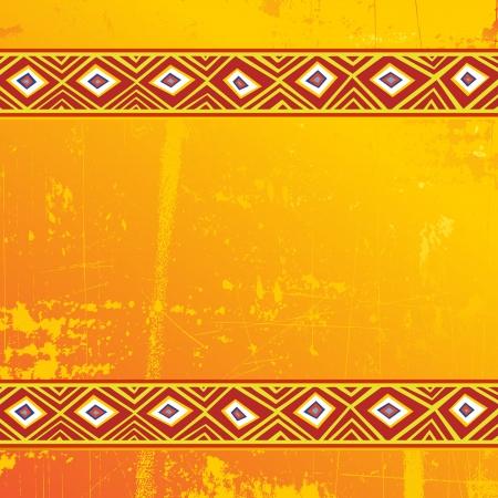 folk art: Ethnic Africa Art Grunge Ornamental Pattern Illustration