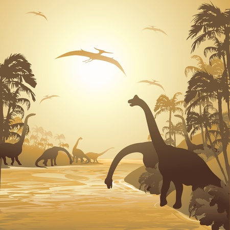 monochromatic: Dinosaurs on Tropical Jurassic Landscape