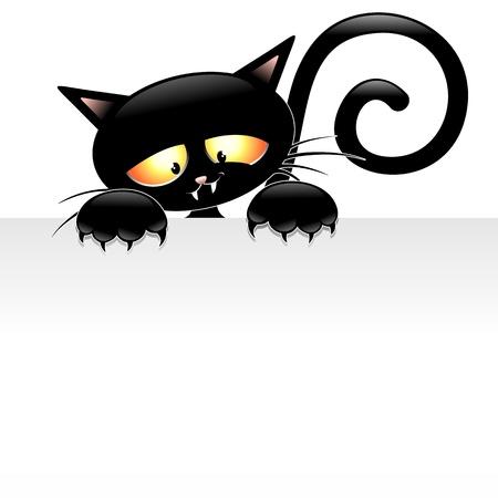 Zwarte Kat van het beeldverhaal met Panel Stock Illustratie