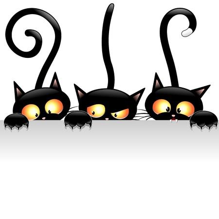 Divertidos dibujos animados de gatos negros con panel blanco Foto de archivo - 21975874