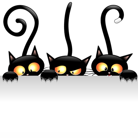 cat illustration: Funny Black Cats Cartoon with White Panel