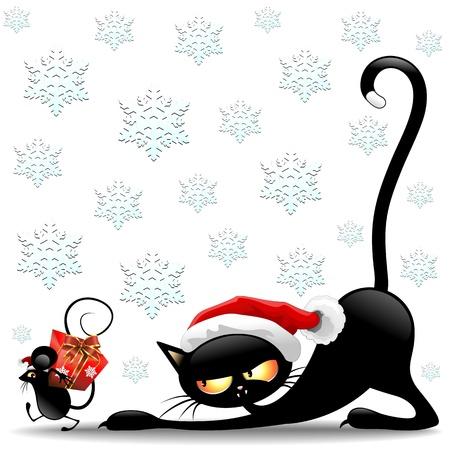 cartoon poes: Kat en muis Cartoon Funny Christmas Santa Claus Stock Illustratie