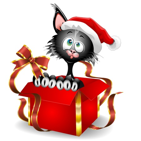 Cat Cartoon on Christmas Gift Vector