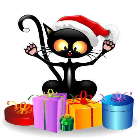 funny cats: Happy Cat Cartoon with Christmas Gifts Illustration