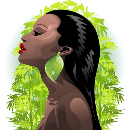 Woman African Beauty and Bamboo Vector