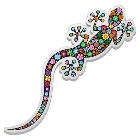l�zard: Gecko L�zard Autocollant floral Illustration