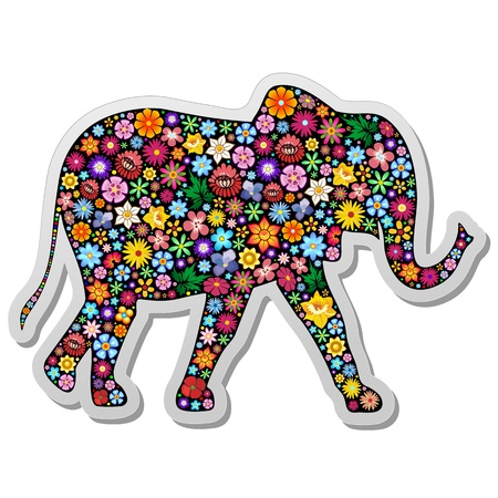 Elephant Floral Ornamental Sticker Vector