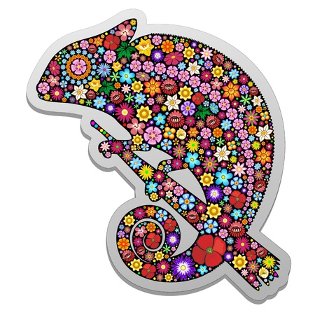wall decal: Chameleon Floral Ornamental Sticker
