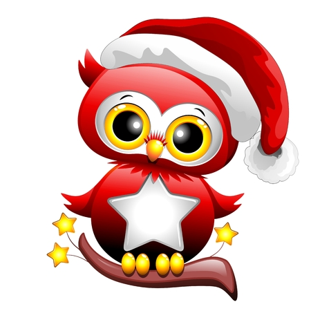 christmas owl: Baby Owl Christmas Santa