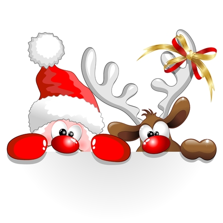 cartoon santa: Funny Christmas Santa and Reindeer Cartoon Illustration