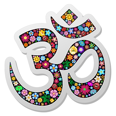 at symbol: Om Aum Namaste Yoga Symbol Floral Sticker