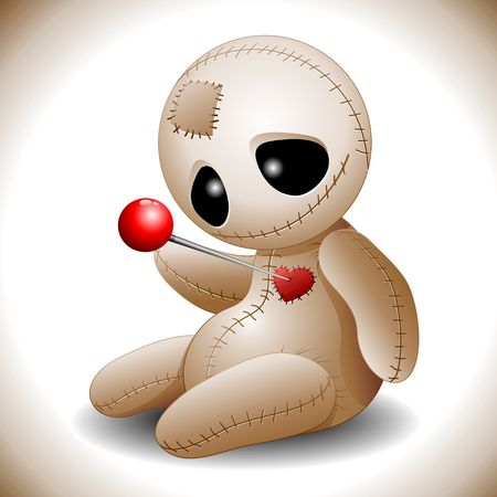 Voodoo Doll Cartoon in Love Vector