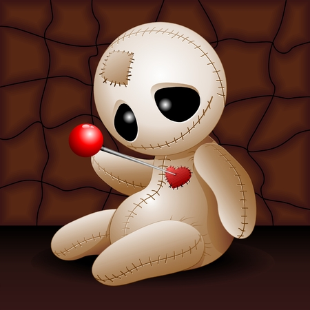 Voodoo doll: Voodoo Doll Cartoon in Love x GRiver Illustration