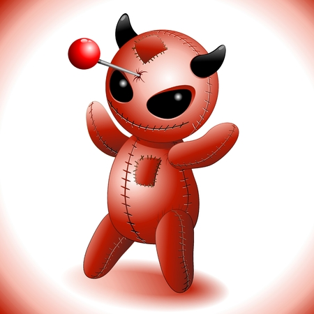 stabbed: Voodoo Doll Cartoon Devil Evil Vectores