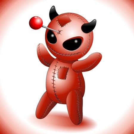 stabbed: Voodoo Doll Evil Devil Cartoon Illustration