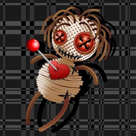 Voodoo doll: Voodoo Doll Death Cartoon on Grey Squares Fabric