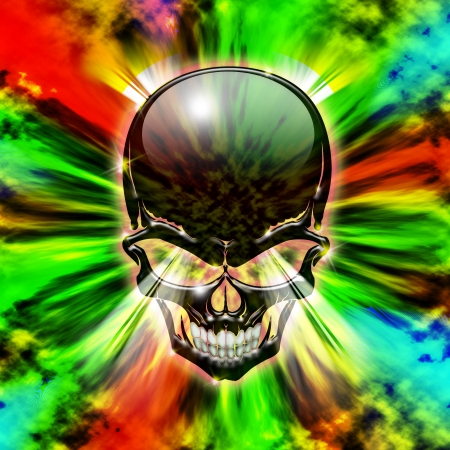 Crystal Skull on Psychedelic Abstract Flames Stock Photo - 23107065