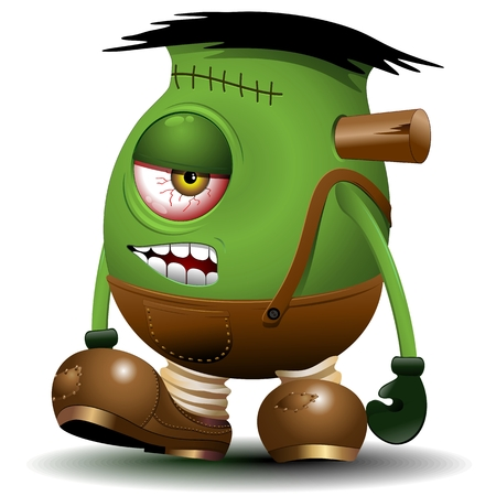 one eyed: One Eyed Frankenstein Monster Cartoon Illustration