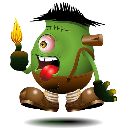One Eyed Frankenstein Monster Cartoon on Fire Vector