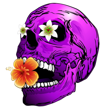 Purple Skull with Tropical Flowers Vector