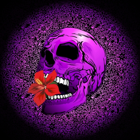 Purple Sugar Skull with Hibiscus Flower Stock Photo