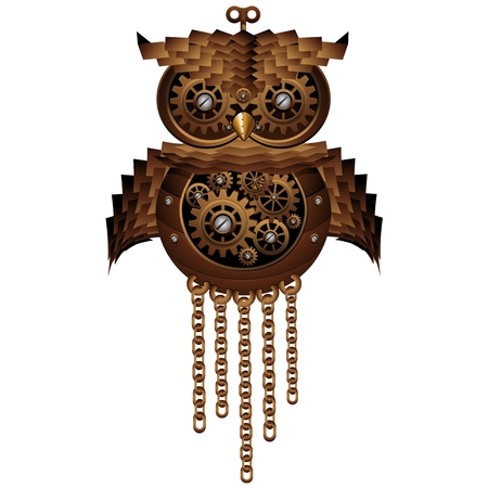 Steampunk Owl Style Mechanical Toy Stock Vector - 24055565