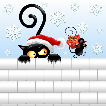 Funny Christmas Black Cat and Mouse Vector