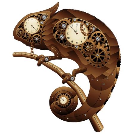 Steampunk Vintage Style Chameleon Banque d'images - 24057363