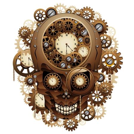 symbol people: Steampunk Skull Vintage Style Illustration