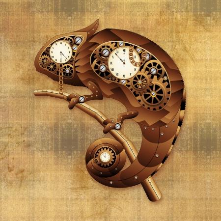 coppery: Steampunk Chameleon Vintage Style