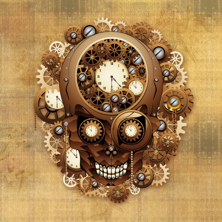 Steampunk Skull Vintage Style Stock Photo - 24057802