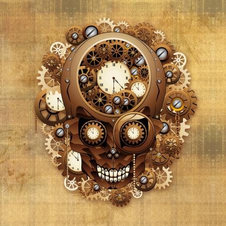 Steampunk Skull Vintage Style Stock Photo - 24057802