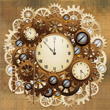 brassy: Steampunk Vintage Style Clocks and Gears Stock Photo