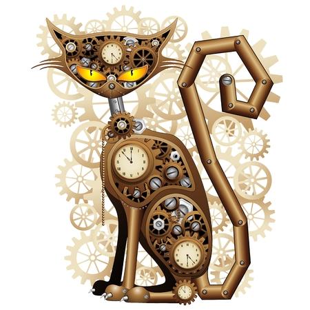 Steampunk Katzen Vintage Style Standard-Bild - 24048248