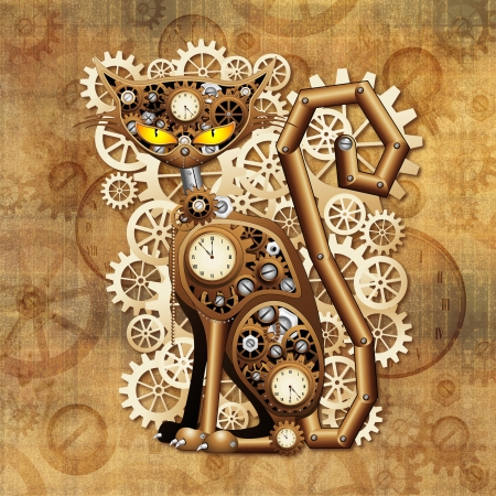 coppery: Steampunk Cat Vintage Style