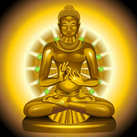 nonviolence: Buddha Gold and Emeralds Statue  Illustration