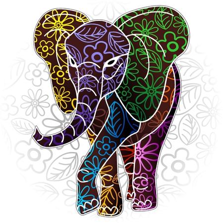 코끼리 꽃 바틱 예술 디자인