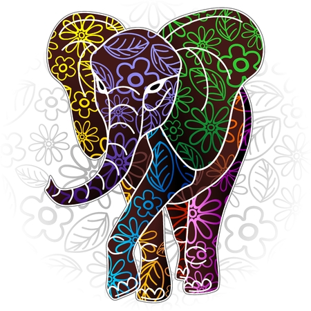 Elephant Floral Batik Art Design 向量圖像