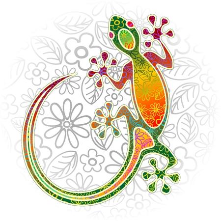 Gecko Arte floral tribal Foto de archivo - 26080029