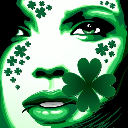 St Patrick Girl with Shamrock on Lips Vector