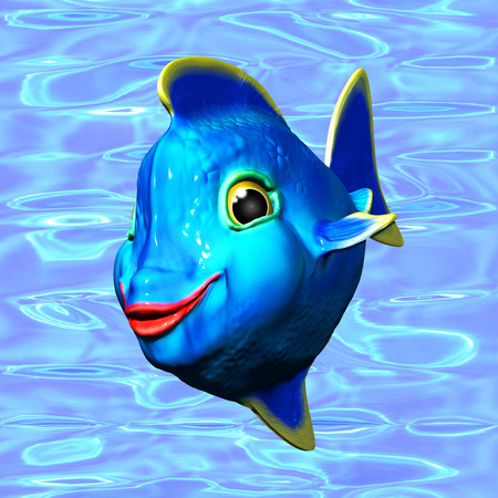 Cute Blue Fish Cartoon 3D Digital Art photo