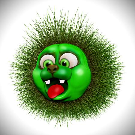 dazzled: Shocked Green Monster Cartoon 3D