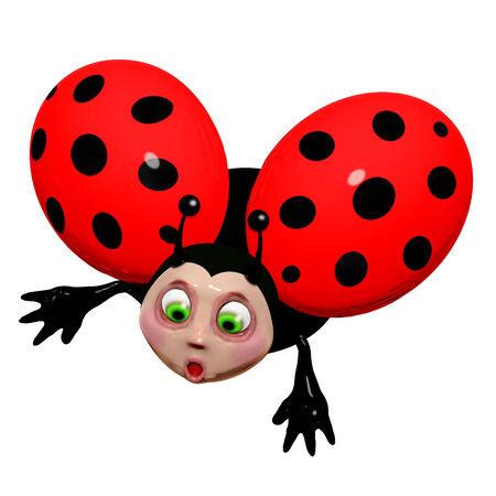 dazzled: Amazed Ladybug Cartoon 3D Stock Photo